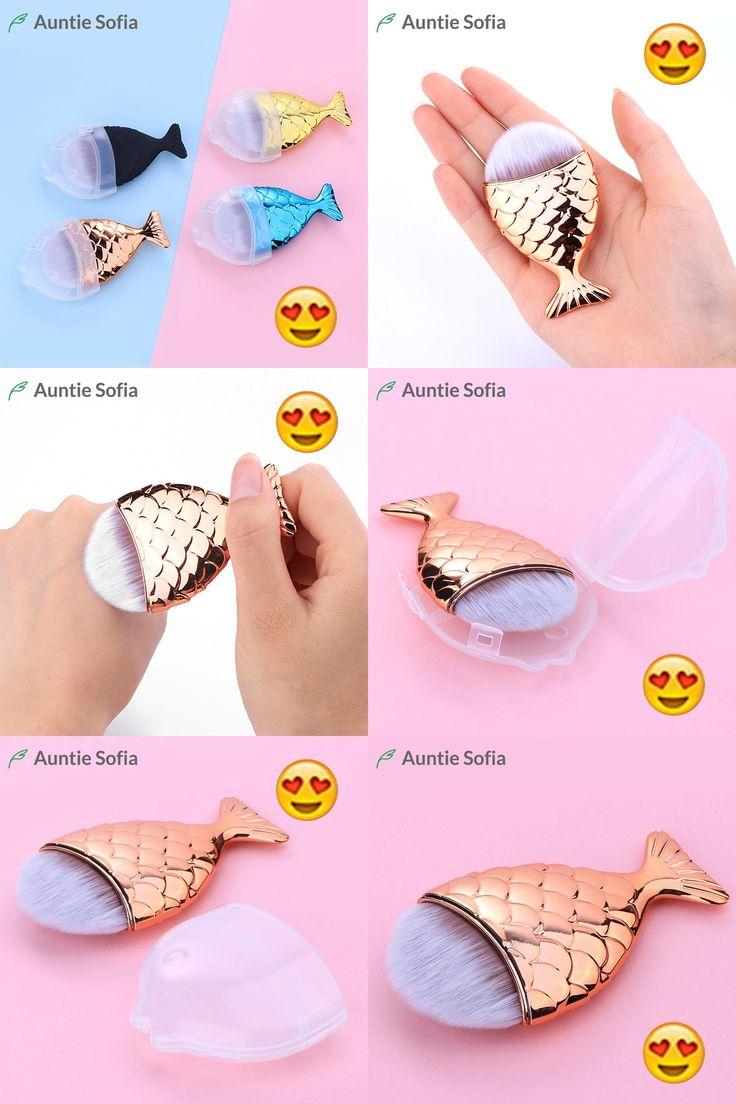 [Visit to Buy] Mini Mermaid Tail Makeup Brush Rose Gold Powder Blush Foundation Cosmetic Tools Fish Brush Facial Puff Brushes Mermaid Brush Set #Advertisement