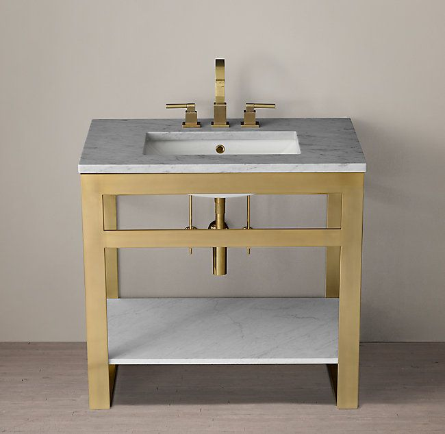 36 inch Vanity  RH's Bowery Single Washstand with Marble Shelf:Informed by 1970s postmodernism, our striking collection is defined by its flat-bar frame, open design and the interplay of parallel lines. A series of continuous bands gently wrap at the corners, offering a counterpoint to the collection's linearity. At once airy and architectural, the silhouette is pure minimalism.
