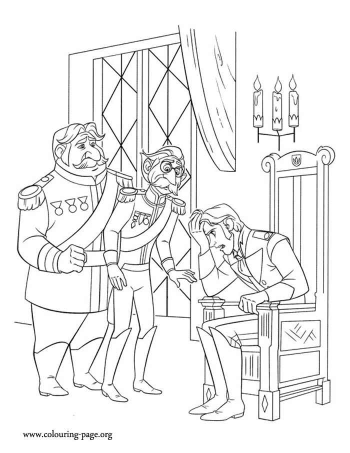 Looks like Prince Hans is worried about Elsa's escape. Have fun coloring this amazing Disney Frozen coloring page!