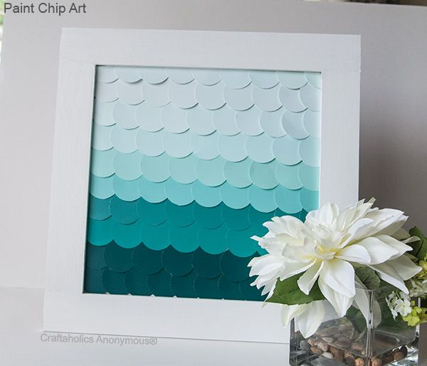 Pretty ombre paint chip DIY! Could use paint and scallop cut paper - I spray painted a foam core board for a school project recently and it came out great!