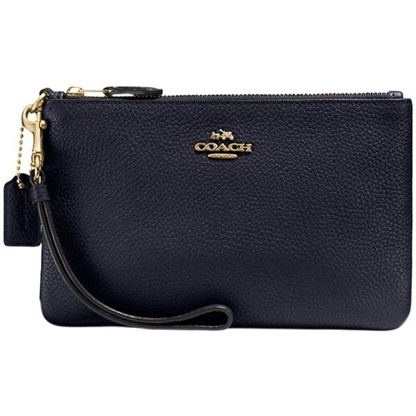 Coach Leather Wristlet Purse ($84) ❤ liked on Polyvore featuring bags, handbags, navy, hand bags, leather man bags, navy leather handbag, coach handbags and leather handbags