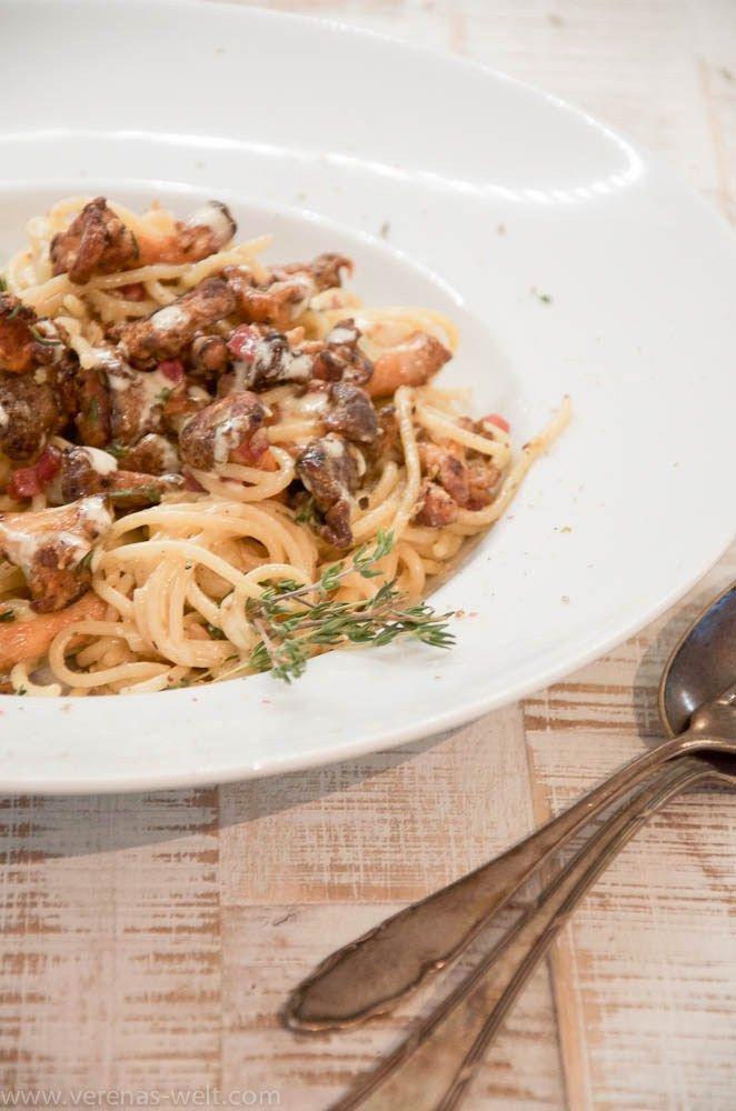 Spaghetti mit Pfifferlingen in Aioli-Sahnesauce | ° Verenas Welt °