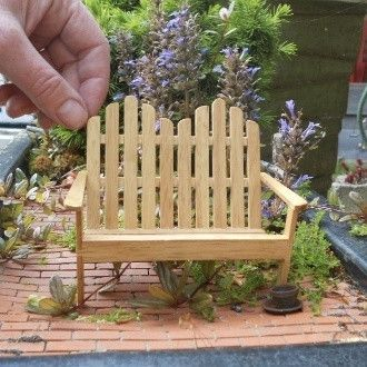 miniature garden bench made of popsicle sticks
