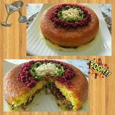 Pretty Persian food -Tah Chin, yummy 😋