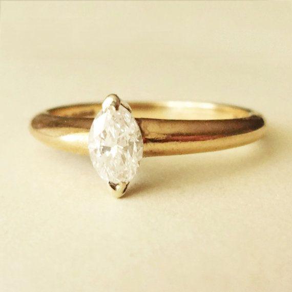 Vintage Marquise Schnitt.42 Karat Diamant Solitär von luxedeluxe
