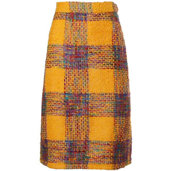Pre-owned Valentino Vintage Rainbow Plaid Skirt ($225) ❤ liked on Polyvore featuring skirts, yellow plaid skirt, multicolor skirt, tartan skirt, multi color skirt and yellow skirt