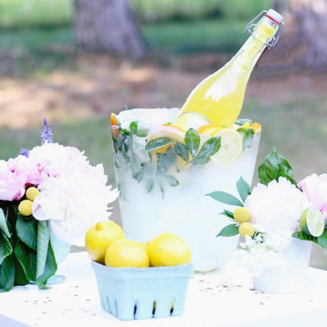 Seau glacé avec des citrons diy / diy ice bucket with lemons