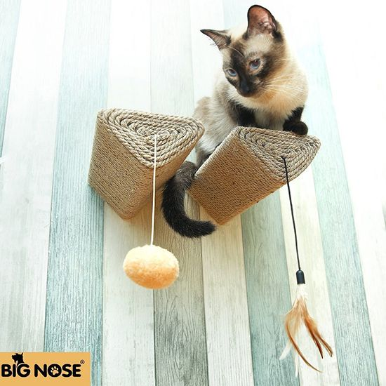 This product creatively combines multiple things that your cat needs to be happy and healthy. The Big Nose Wall-Mounted Cat Scratching Post is much more than a scratcher. It also lets cats climb and play, plus it has a sleek look, almost like a modern wall sculpture. The simple triangular posts attach to the wall,...Read More