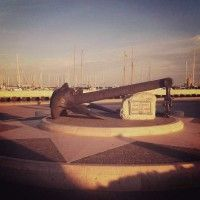 Anchor shaped monument to those who've lost their lives at sea - Rimini Port