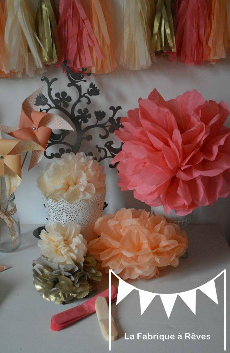 pompon papier soie corail p che abricot beige dor d coration mariage bapt me baby shower. Black Bedroom Furniture Sets. Home Design Ideas