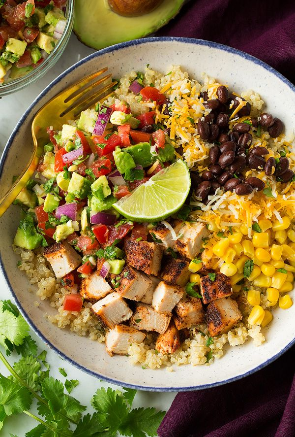 Healthy protein packed chicken burrito bowls. Brimming with fresh flavor and nutritious ingredients. Delicious meal to serve any day of the week!