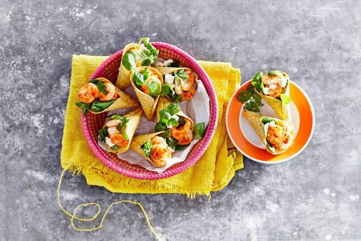 Let's taco about it! Heerlijk fris met garnalen en extra lekker op een zomerse dag - Recept - Allerhande
