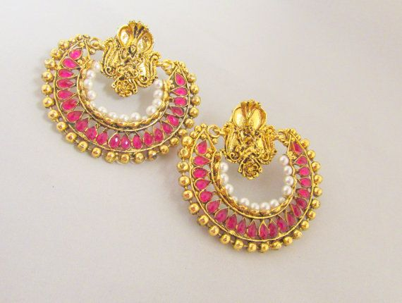 Pink Kundan Crystal Work RamLeela Ethnic Indian by RumiCollections