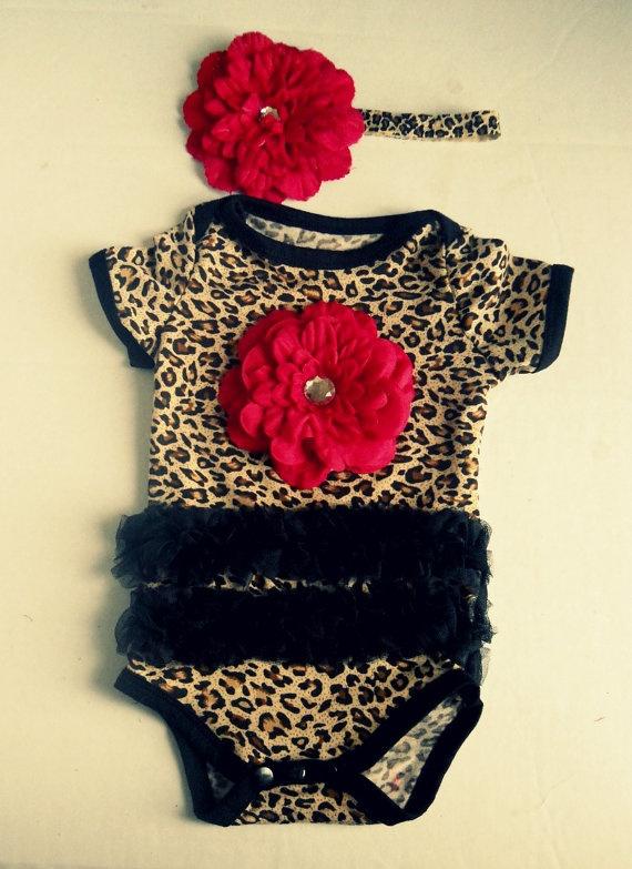 Leopard black tutu onesies Baby Onesie and headband Set, Girl romper