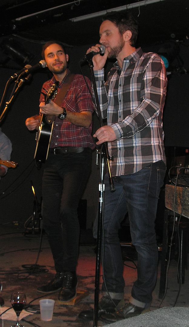 Colin MacDonald of the Trews joins Tim Chaisson onstage at the Rivoli in Toronto, Dec. 14/13. Taken by us.