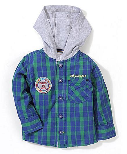 Baby League Shirt Checks With Jersey Hood - Green Blue http://www.firstcry.com/baby-league/baby-league-shirt-checks-with-jersey-hood-green-blue/687555/product-detail