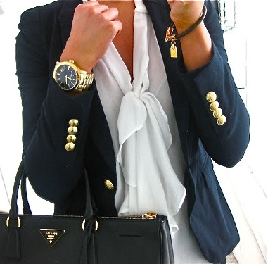 Cute white top, navy Jcrew schoolboy blazer, gold accents and jewelry