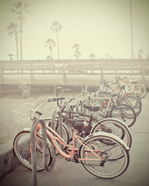 Beach Bikes Bicycles Fine Art Photography pink grey sunset