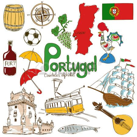Fun colorful sketch collection of Portugal icons, countries alphabet