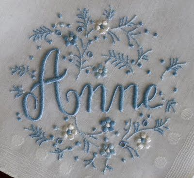 beautiful monogrammed linen.. love the little pearls