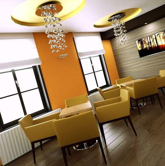 Koktail bar v nádychoch žltej a oranžovej
