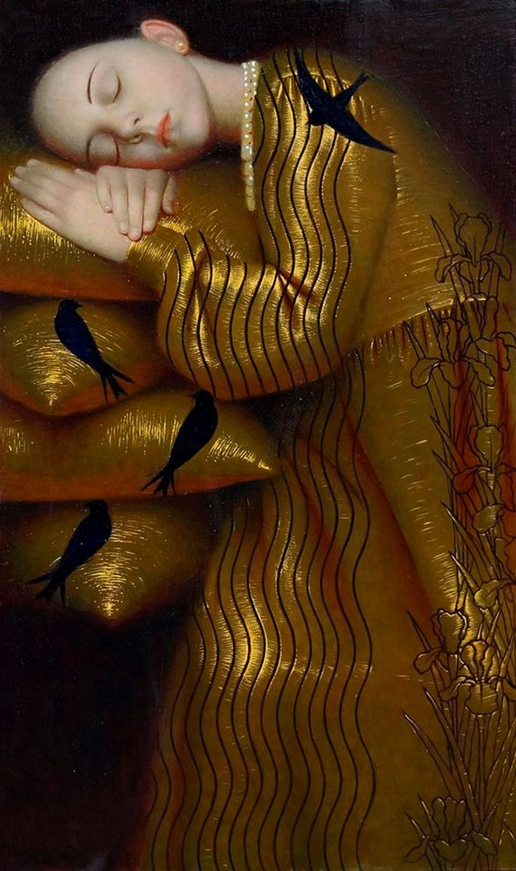 Title unknown (girl in gold sleeping) by Russian artist Andrey Remnev (b.1962). via design collector