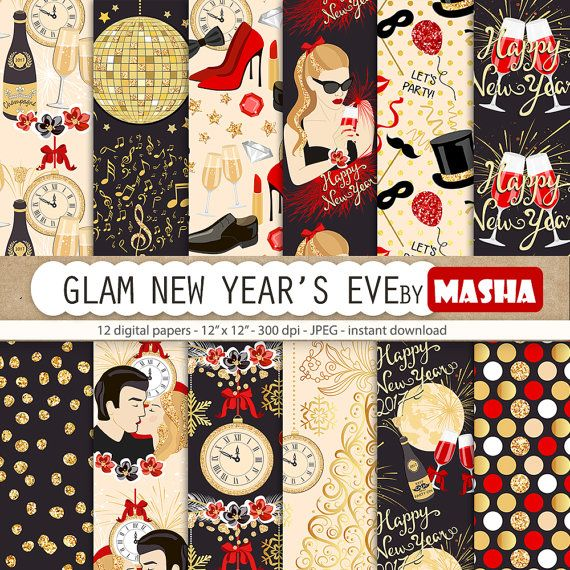 New year's eve digital papers: Glam New Year's Eve by MashaStudio #newyearseve #new #year #digital #paper #pattern #glam #party #scrapbooking #supplies #images #background #wrapping #gold #glitter #mashastudio #masha #studio
