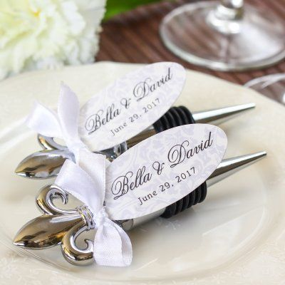 French Inspired Weddingfavors Fleur De Lis Elegant Chrome Bottle Stopper Original