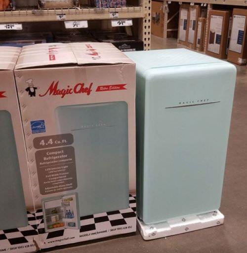 Magic Chef Retro Edition small refrigerator - in mint, red, and white - Retro Renovation