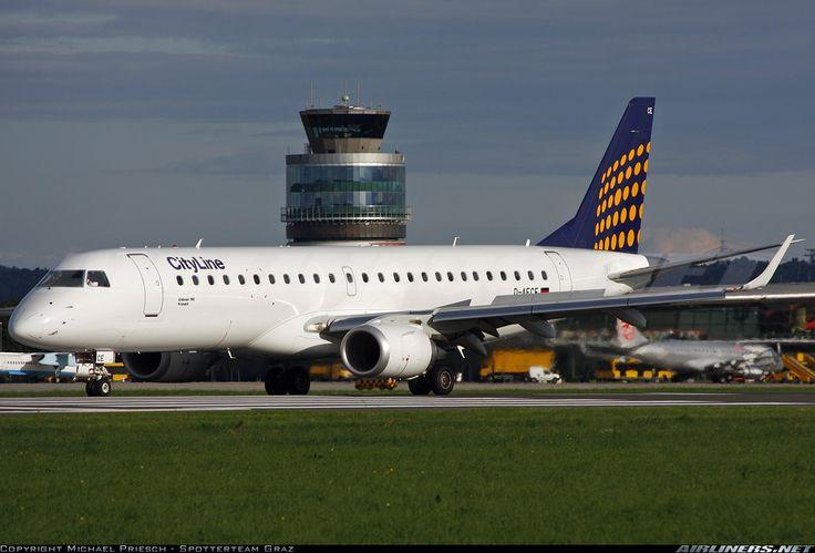"Lufthansa CityLine Embraer 190LR (ERJ-190-100LR) D-AECE ""Kronach"" at Graz-Thalerhof, August 2010. (Photo: Michael - Spotterteam Graz)"
