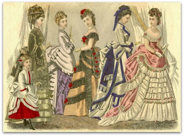 """Vestimenta de la Era Victoriana. """"Esposa florero"""", la mujer pasa a ser símbolo de prestigio social del marido."""