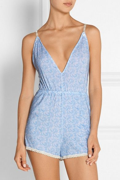 Cheek Frills x Carolyn Murphy | Lace-trimmed floral-print stretch-modal playsuit | NET-A-PORTER.COM