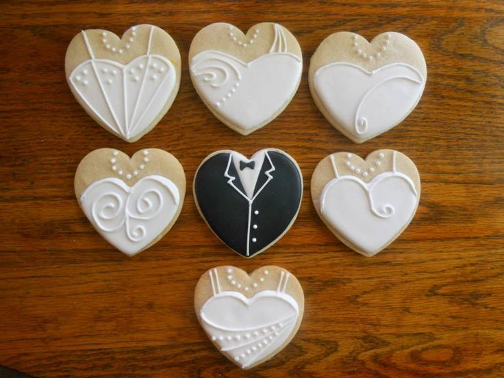 bride dress and tuxedo decorated sugar cookies by Martha's Cookie ...
