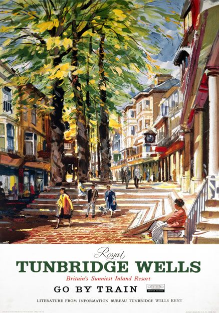 The Pantiles Tunbridge Wells Kent Vintage Souther Railways SR Travel poster by Charles Shepherd c1950