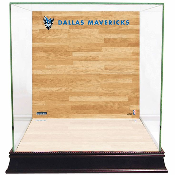 Steiner Sports Glass Basketball Display Case with Dallas Mavericks Logo On Court Background, Multicolor