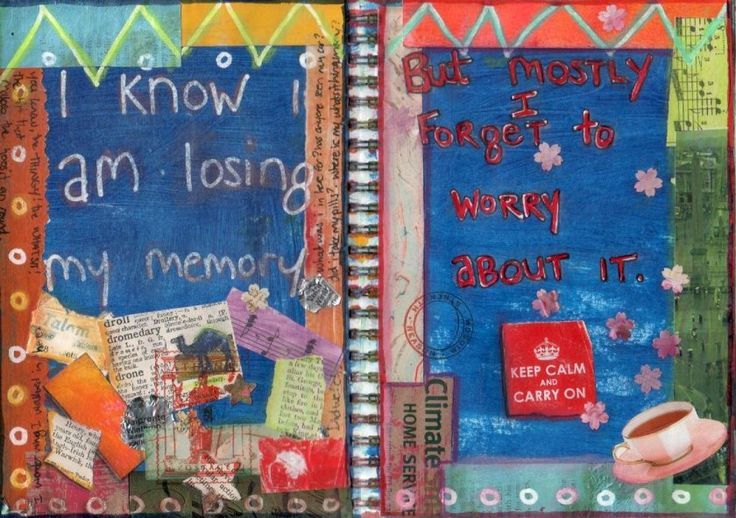 I found it really hard finding REFLECTIVE journal. I thought this one was a good example though for it expresses her feelings at that point not only through words but also through the images. The written text says 'I Know Im loosing my Memory' This is than accompanied by things which she has collected through travel and experiences at the bottom of the page which represents the lose and forgetting of these elements