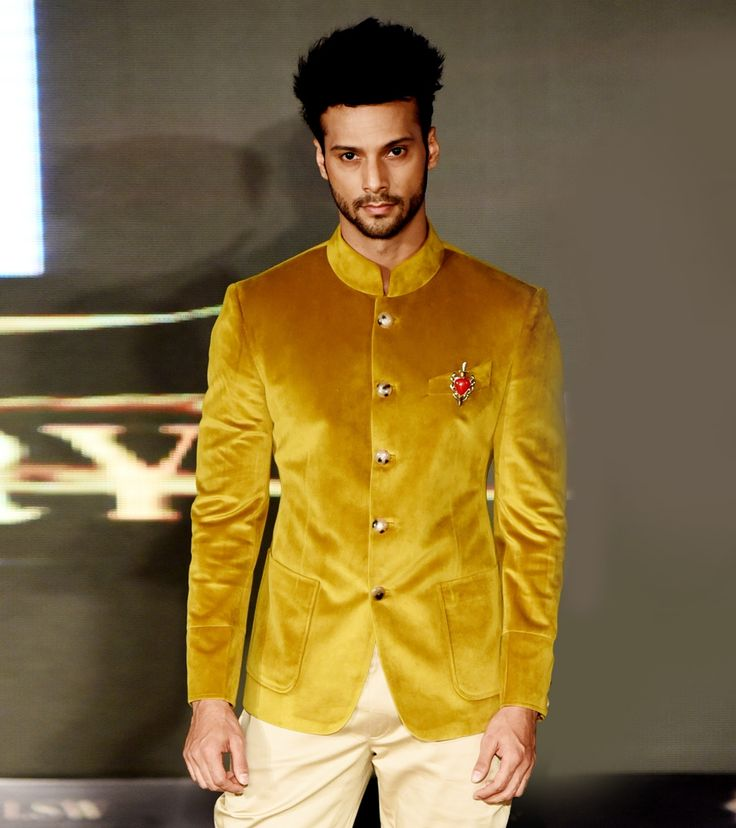 Yellow Velvet Embellished Bandhgala Jodhpuri Jacket #Ethnicwear #Designerwear #Nehrujackets #Blazer #Suits #Men'sfashion