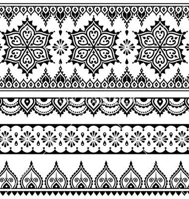 Mehndi indian henna tattoo seamless pattern vector on VectorStock                                                                                                                                                      More