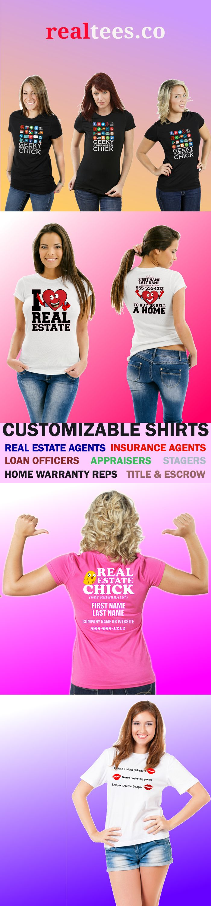 Real estate casual fashionistas know a call to action sparks a conversation about real estate wherever you wear our shirts - at the gym, in the market, at a picnic. And now, these shirts are not just for real estate agents. Check out our growing collection of shirts for mortgage loan officers, appraisers, home warranty reps, title and escrow agents, and insurance agents.