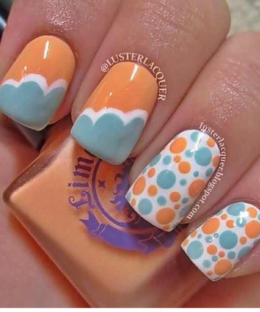 clouds and spots nail art three