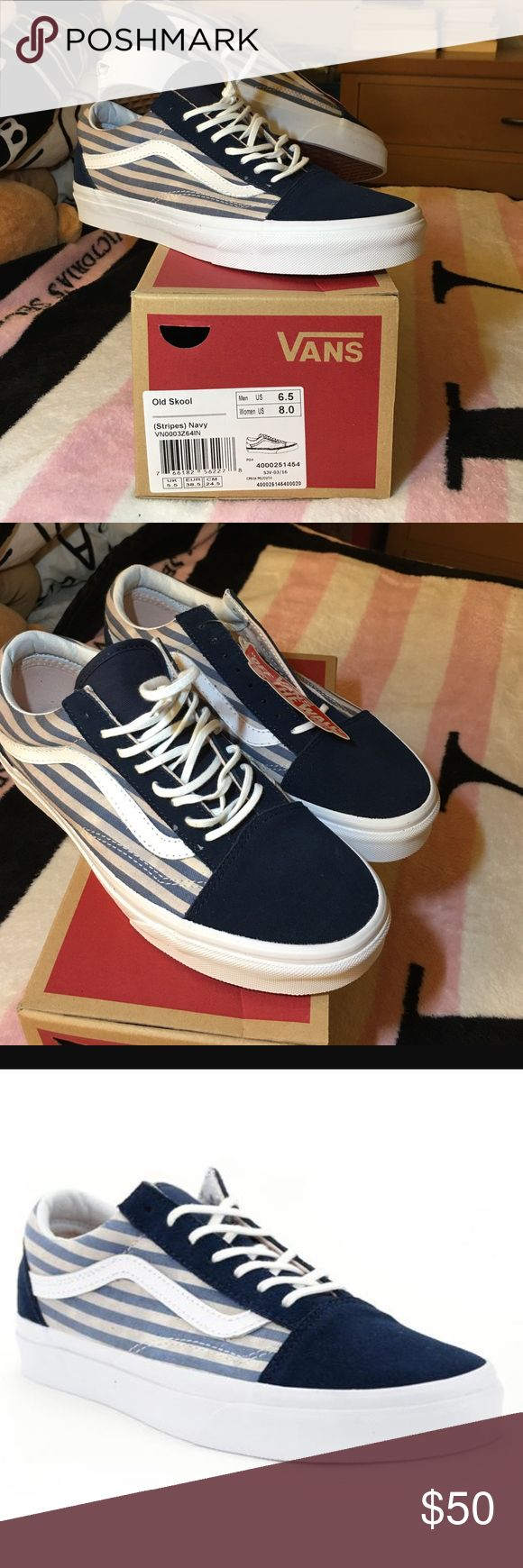 VANS old Skool navy stripes SZ 8 women Women size 8. Vans The Stripes Old Skool, the Vans classic skate shoe and first to bare the iconic sidestripe, is a low top lace-up featuring textile and suede uppers with a stripes print, re-enforced toecaps to withstand repeated wear, signature rubber waffle outsoles, and padded collars for support and flexibility. Vans Shoes Sneakers
