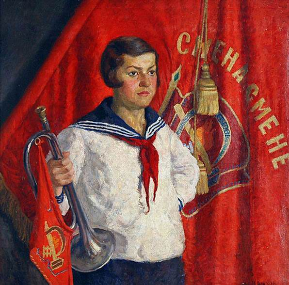 Илья Машков «Пионерка с горном» 1933 г. 92 x 92 см. Холст, масло.