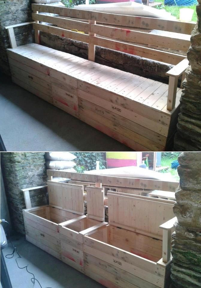 Pallet bench- without the back rest. For the Laundry room to put under coat hangers... different compartments for hats, mittens and scarfs!    Honey... Do?