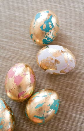 golden marbeled easter eggs diy