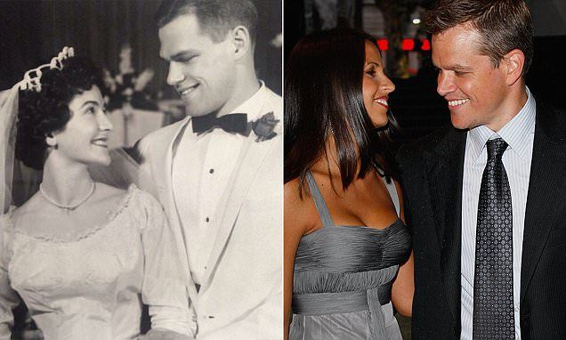 Photo of man from 1961 sends the internet into a spin because he looks identical to Matt Damon   A photograph of a man now 75 on his wedding day in 1961 pictured left looks so much like Hollywood A-list celebrity actor Matt Damon 45 pictured right with his wife Luciana Barroso that he has been described as his doppelganger. The black and white photo shows the 75 year old man with his late wife who passed away last year. The photo was shared online by his son who wrote: 'I think my dad looks…