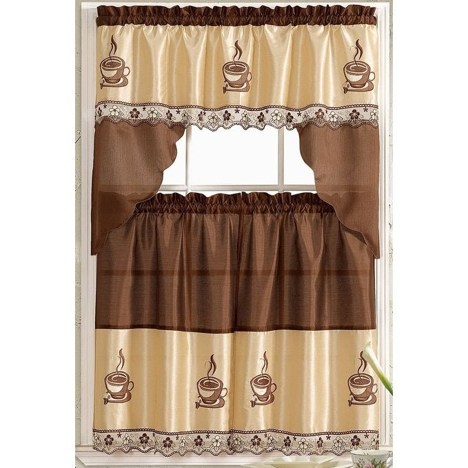 Coffee Embroidered Kitchen Curtain Tiers & Swag Set Brown