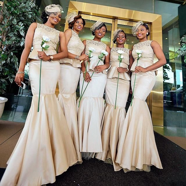 Champagne Lace Peplum Bridesmaid Dresses Mermaid Crew Neckline Floor Length Satin Prom Dress White Bridesmaid Dresses Designer Dress From Dresstop, $93.46| Dhgate.Com