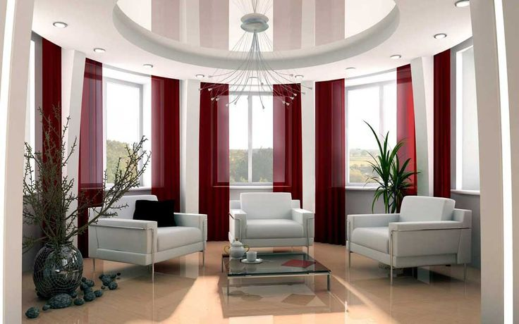 Interior Room Decoration Hd Pic with beautiful red white wood glass modern design beautiful living room curtain red loose windows slide be equipped armchairs clubchairs table glass at livingroom