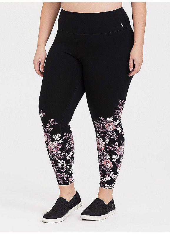 901797536bd TORRID   Black Floral Wicking Active Legging