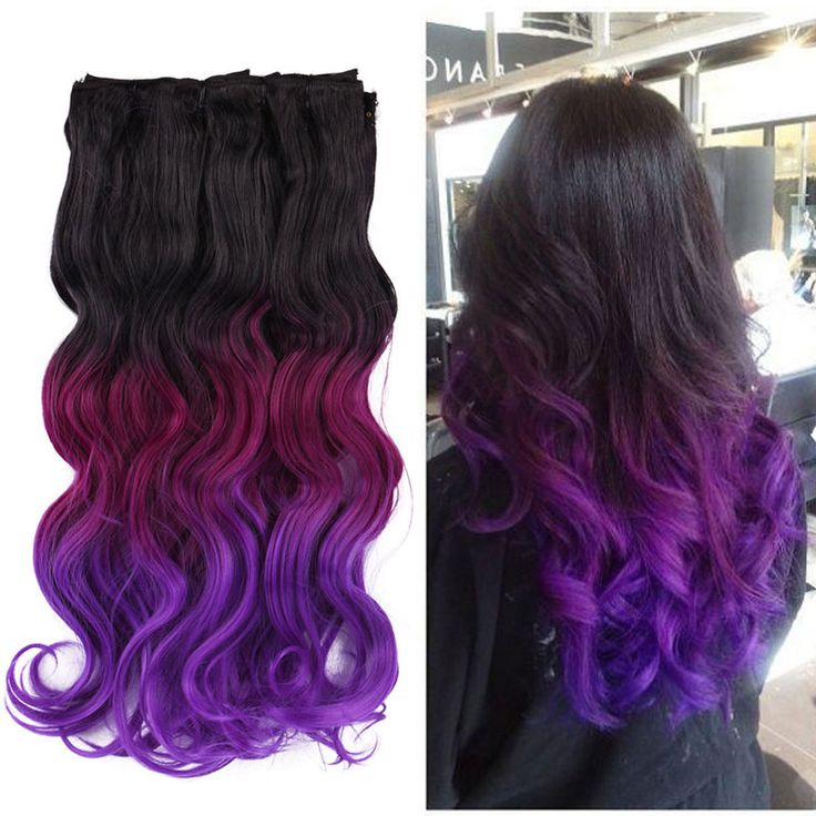 Best 25 clip in hair extensions ideas on pinterest how hair natural black to violet purple 8pcs dip dye ombre 3 tone clip in hair extensions pmusecretfo Gallery